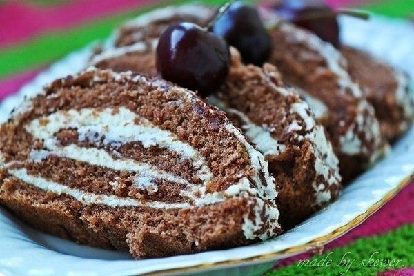 Бисквит с творожным кремом рецепт с фото
