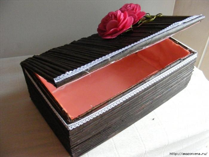 Декорирование обувной коробки газетными трубочками. Мастер-класс (17) (700x525, 265Kb)