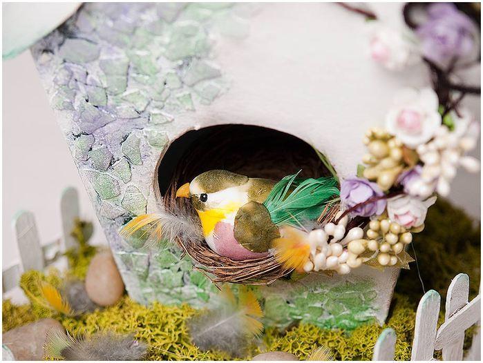 Домик для птички из картона, палочек от мороженого, с мозаикой из яичной скорлупы (29) (700x526, 71Kb)