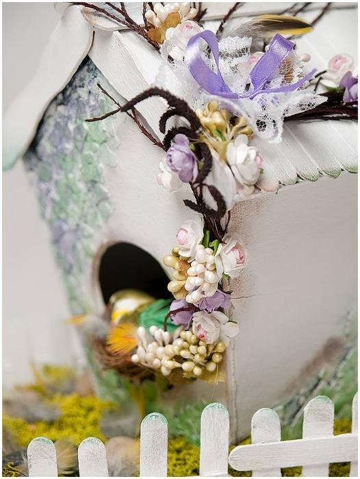 Домик для птички из картона, палочек от мороженого, с мозаикой из яичной скорлупы (31) (526x700, 249Kb)