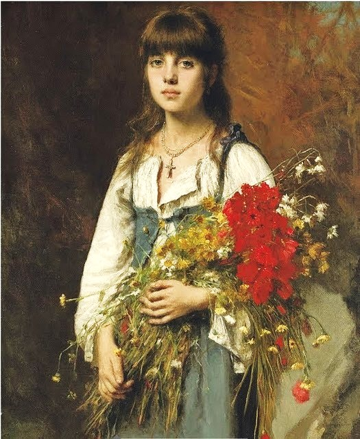 Alexei Alexeievich Harlamoff (or Alexej Harlamoff - Alexej Charlamoff) (Russian painter, c 1840–1925) The Flower Seller1 (525x640, 126Kb)
