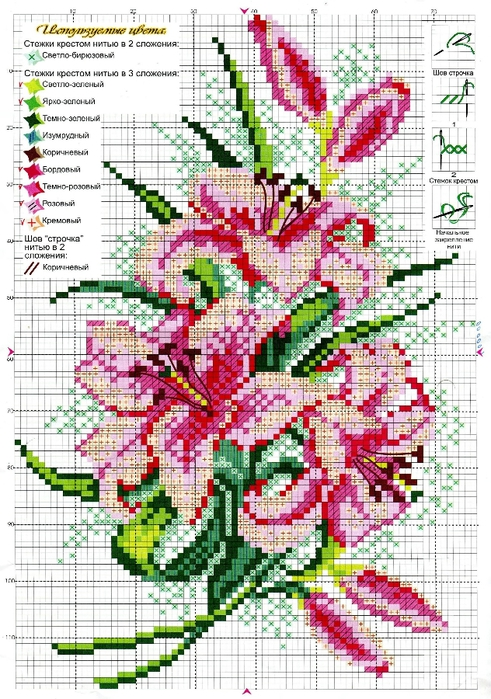 Скачать схему цветок для вышивания