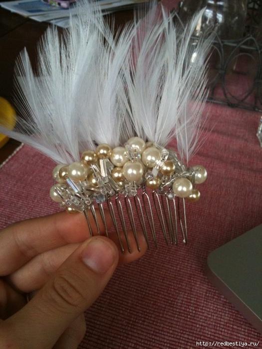 Свадебное украшение на волосы своими руками