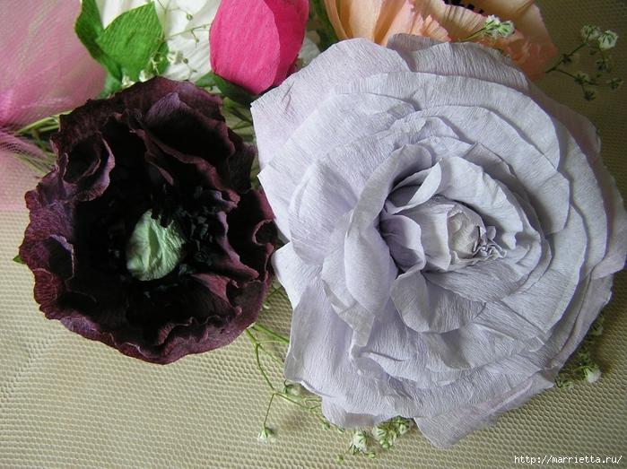 Букет цветов из гофрированной бумаги. Розы, пион и мак (2) (700x523, 338Kb)