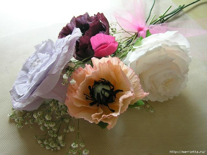 Букет цветов из гофрированной бумаги. Розы, пион и мак (4) (700x523, 304Kb)
