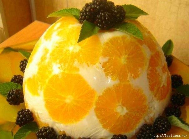 Желейный торт Апельсины в йогурте (604x446, 126Kb)