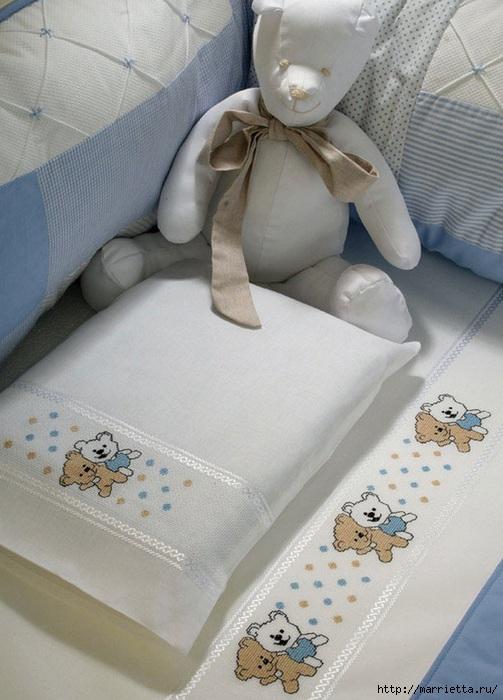 Вышивка медвежат для детского