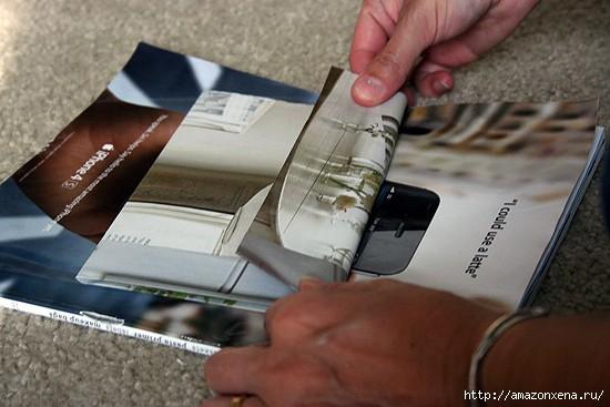 Как сделать сумочку для подарка из журнальных страниц (4) (550x367, 110Kb)