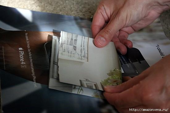 Как сделать сумочку для подарка из журнальных страниц (6) (550x367, 87Kb)