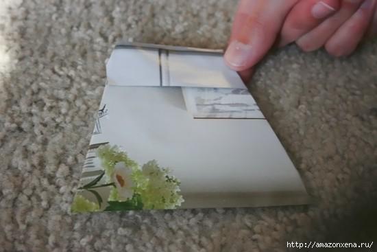 Как сделать сумочку для подарка из журнальных страниц (12) (550x367, 85Kb)