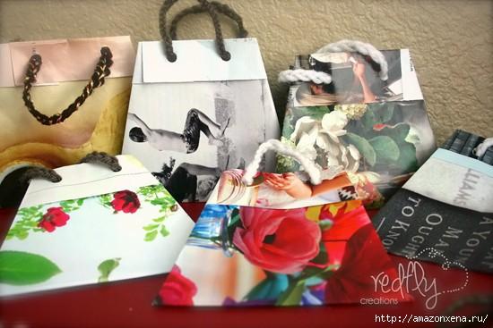 Как сделать сумочку для подарка из журнальных страниц (16) (550x367, 125Kb)