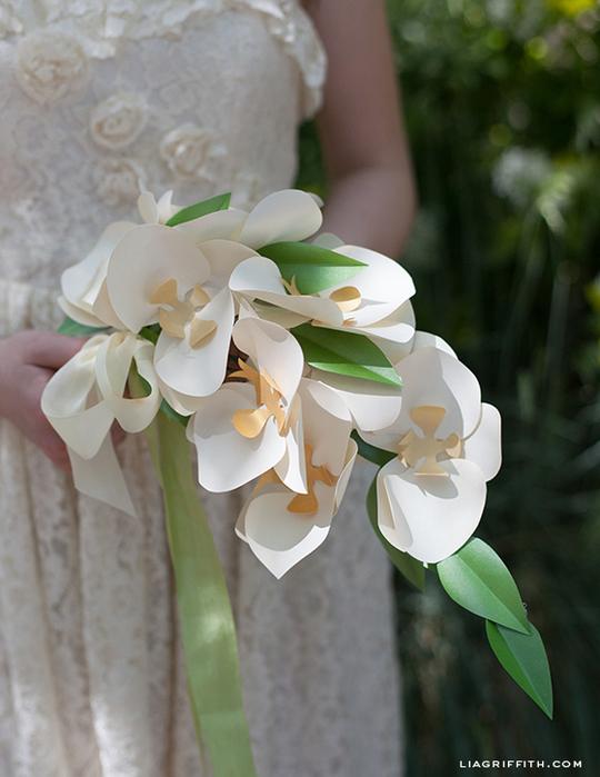Орхидея из бумаги для украшения подарка. Шаблоны (2) (540x700, 267Kb)