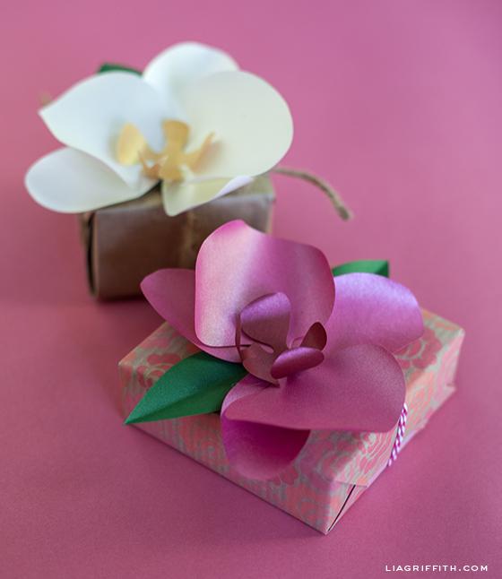 Орхидея из бумаги для украшения подарка. Шаблоны (3) (560x646, 183Kb)