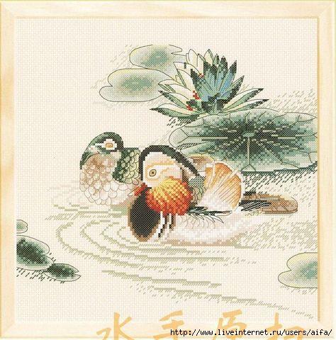 Схема вышивка утки мандаринки