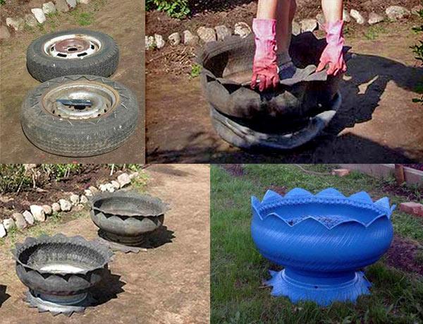 Дизайн клумбы из колес своими руками