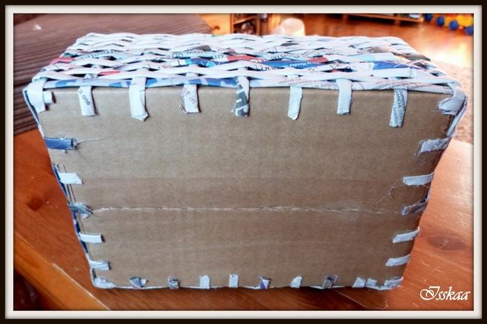 Сундучок из коробки, оплетание газетными трубочками. Мастер-класс (15) (700x466, 226Kb)