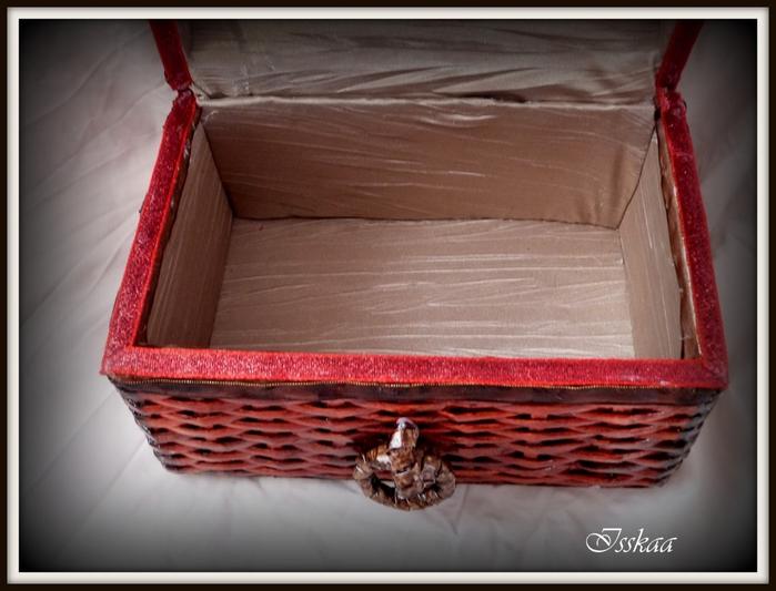 Сундучок из коробки, оплетание газетными трубочками. Мастер-класс (21) (700x533, 214Kb)