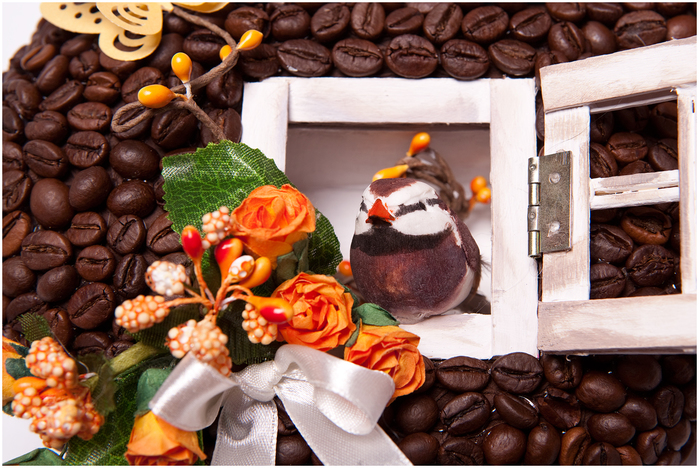 Кофейное сердце - домик для птички. Мастер-класс (4) (700x468, 410Kb)
