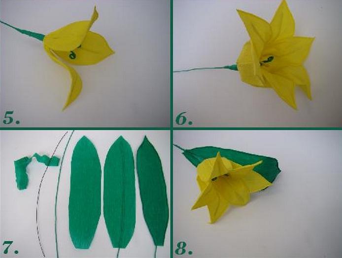 Желтые тюльпаны из креповой бумаги. Фото мастер-класс (2) (694x523, 69Kb)