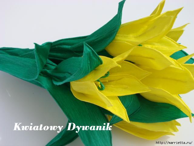 Желтые тюльпаны из креповой бумаги. Фото мастер-класс (5) (640x480, 106Kb)