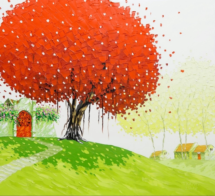 Phan-Thu-Trang.-Flower-field.-The-Banian-tree-in-front-of-my-home.80x85-cm (700x637, 367Kb)