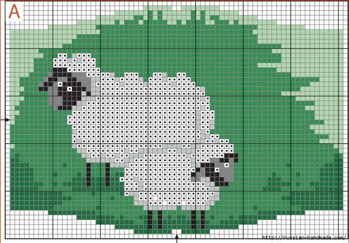 Вышивка крестом. Овечки на постельном белье (3) (700x487, 318Kb)