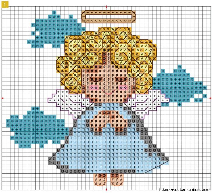 Панно с вышивкой ангела. Схема ангела (3) (700x637, 402Kb)