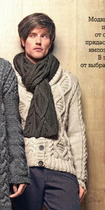 Вязание мужского шарфа спицами 5
