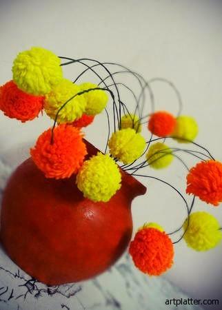 Цветы из помпонов для создания цветочной композиции (9) (322x450, 29Kb)