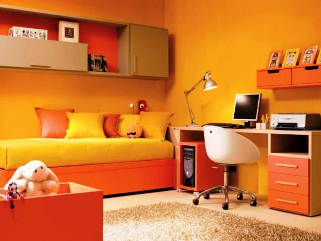 облегчить оранжевый цвет в интерьере детской Формирование умение