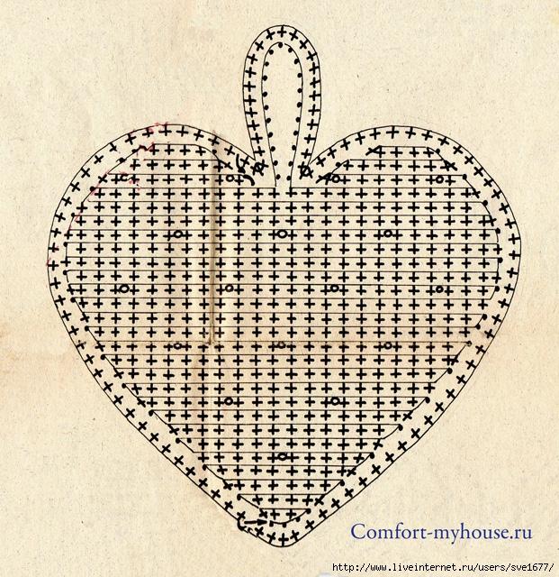 Вязаные подушки - сердечки.