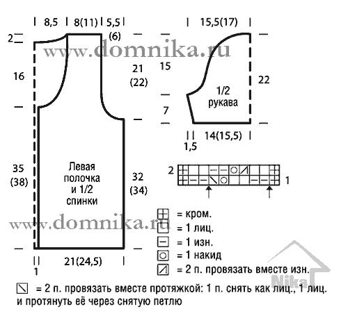 Вязание спицами схемы короткий жакет с короткими рукавами