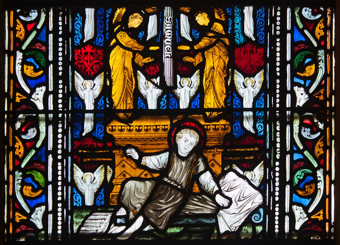 Dublin_Christ_Church_Cathedral_Chapel_of_Laurence_O'Toole_Window_Virgin_and_Child_with_Saint_Luke_by_Patrick_Pollen_Detail_2012_09_26 (700x505, 158Kb)