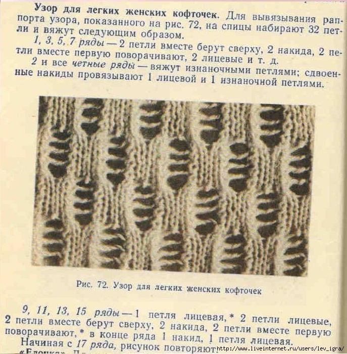 Узоры для вязания спицами со спущенными петлями спицами