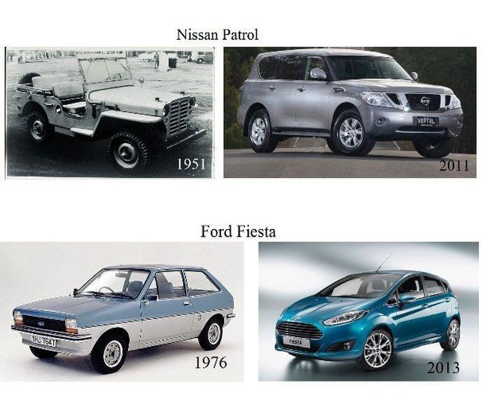 Как выглядят новый и старые версии одной модели автомобиля