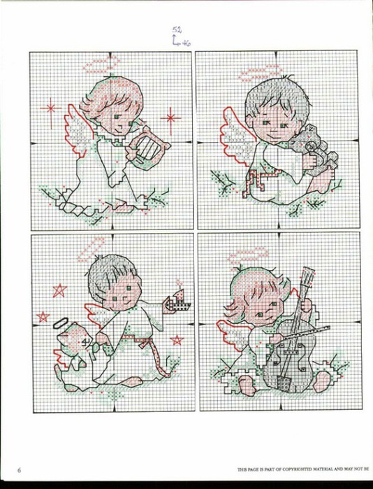 схема вышивки ангелочки