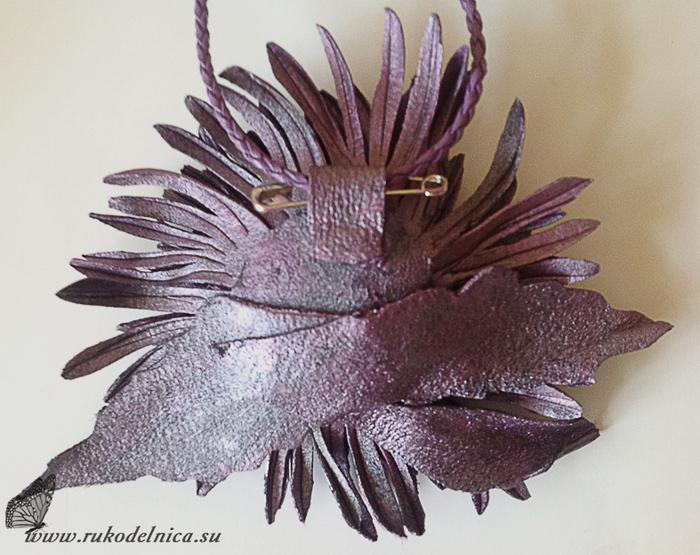 Хризантема из кожи фиолетовое чудо