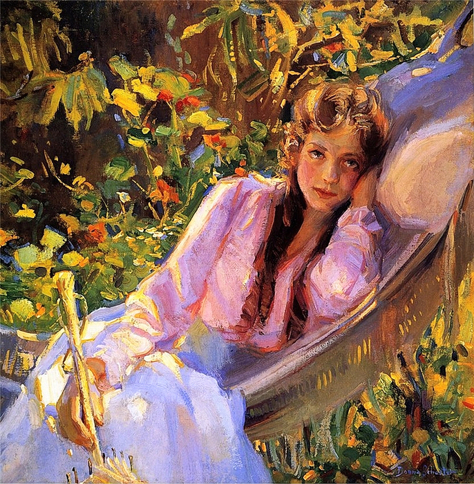 Donna Schuster - Girl in a Hammock (686x700, 676Kb)