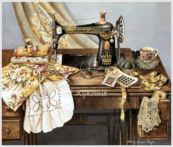 Sandy Lynam  «Sewing With Mama» (600x510, 270Kb)