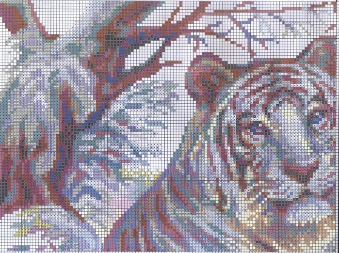 Бенгальский тигр вышивка крестом схема