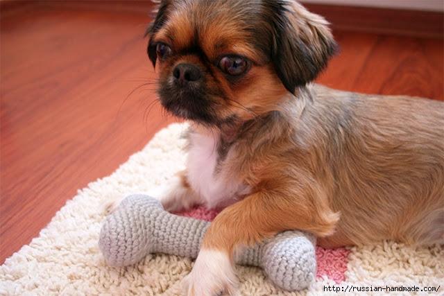 Вяжем крючком игрушку КОСТОЧКУ для собачки. Амигуруми