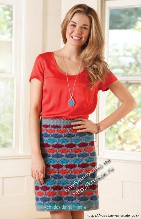Вязание крючком. Две юбки столбиками с накидом (1) (450x700, 208Kb)