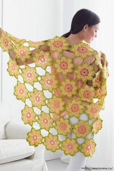 Цветочная летняя шаль крючком. Схема (2) (466x700, 239Kb)