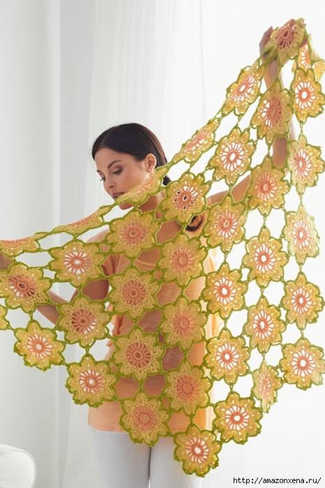 Цветочная летняя шаль крючком. Схема (466x700, 249Kb)