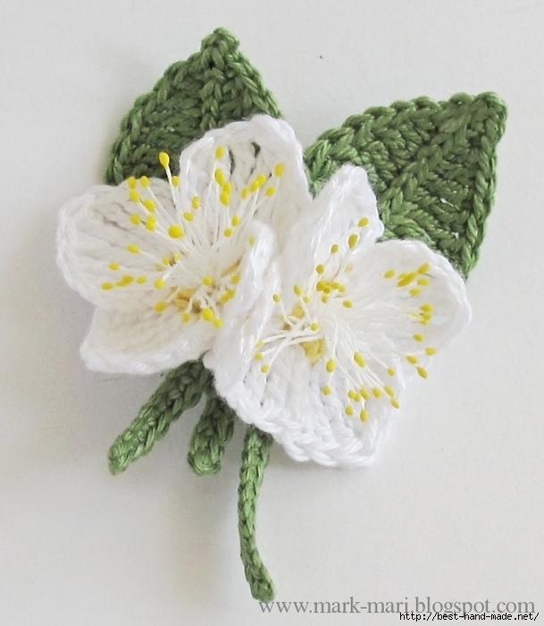 Цветы жасмина крючком.