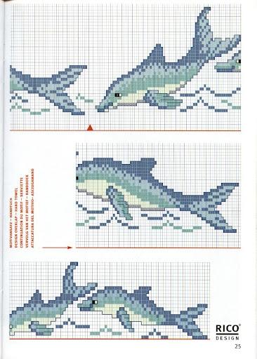 Дельфины на банном полотенце. Вышивка крестиком (5) (366x512, 155Kb)