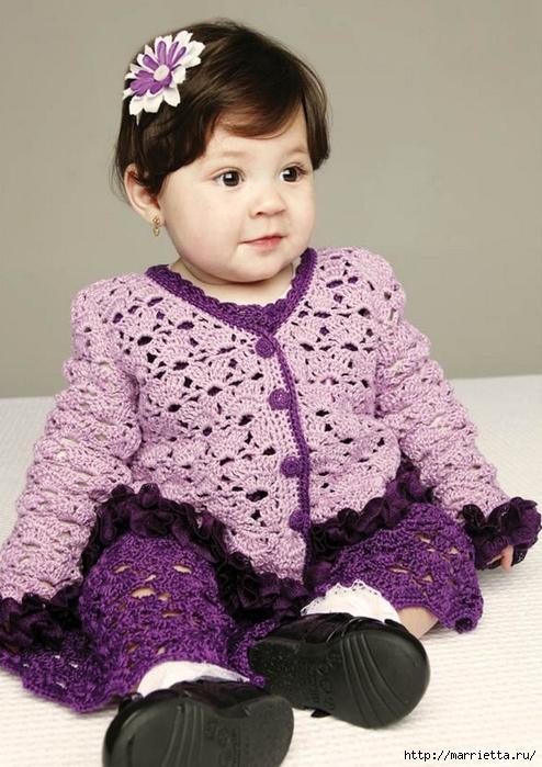 Лавандовый костюмчик для маленькой принцессы. Вязание крючком (2) (494x700, 264Kb)