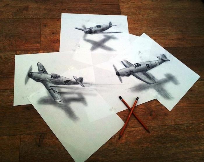 трехмерные рисунки простым карандашом  Ramon Bruin 1 (700x555, 256Kb)