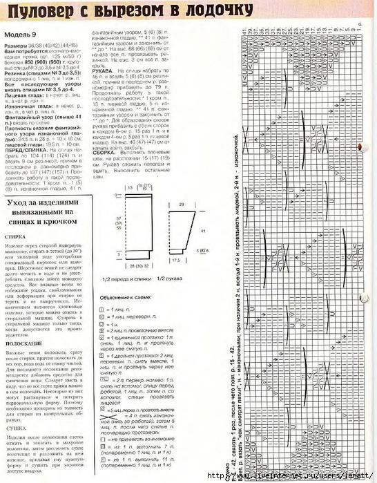 Схема для вязания лодочка 858