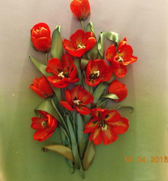 Тюльпан вышивка лентой мастер-класс